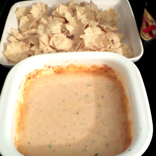 The Best Queso Dip:  Warm, spicy, smooth, and cheesy dip for tortilla chips.