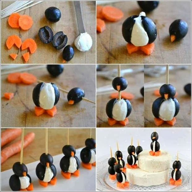 Cute Food serving decoration ideas, cute Penguins made from Black Olives Cream Cheese and Carrots, Creative decoration ideas, innovative food serving decoration