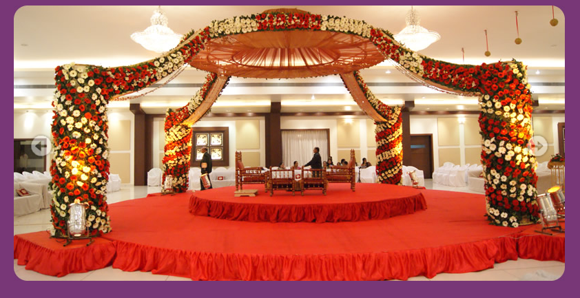 A wedding planner indian wedding hall shaadi mandap for Wedding hall decoration items