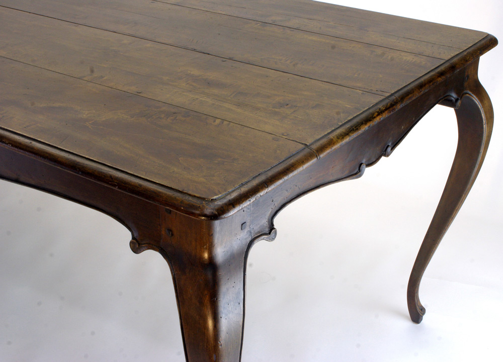 elegant french country cabriole table newly made to look old, with hand carved details and antique walnut finish