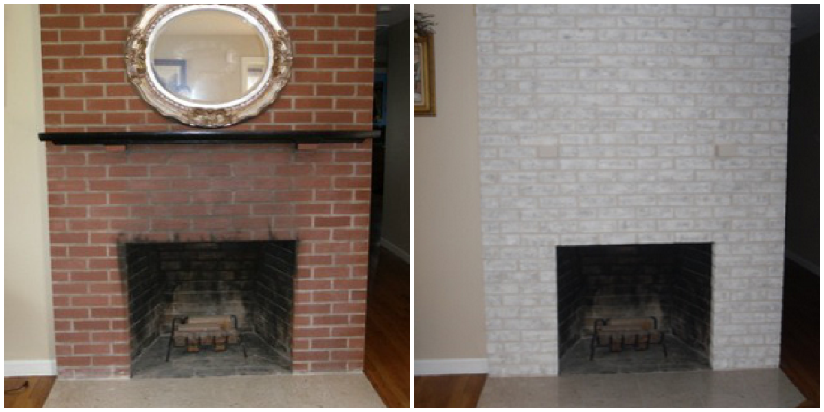 Fireplace decorating a brick painted fireplace must see for Bricks painting design