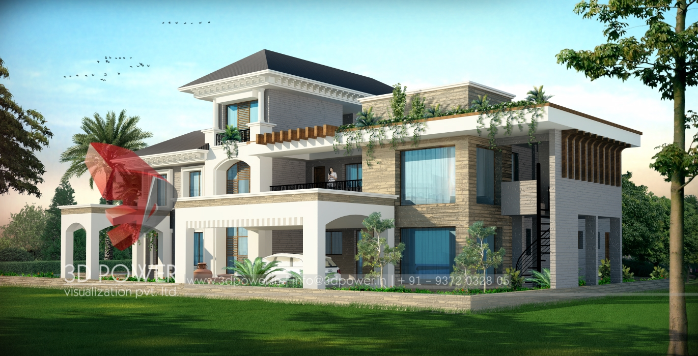 Township apartments design 3d rendering new modern for Bungalow plans
