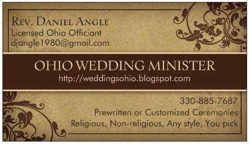 Ohio wedding officiant check out my business card colourmoves