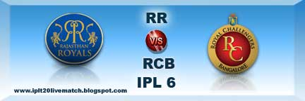 IPL 6 RR vs RCB Highlight Match and RR vs RCB Full Scorecards