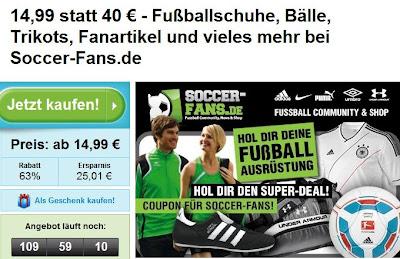 Groupon: 60€-Soccer-Fans.de-Gutschein zum Preis von 24,99 Euro