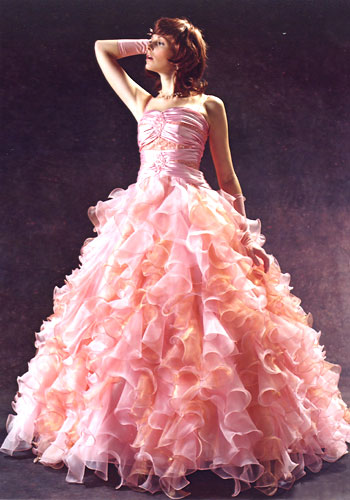 Here are some pink wedding dresses I bumped into online for instance