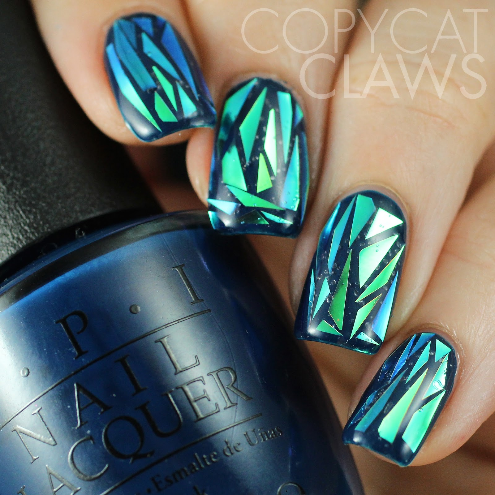 Copycat Claws Blue Color Block Nail Art: Copycat Claws: My Attempt At Shattered Glass Nails