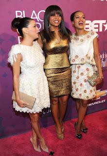 Eva Longoria at BET's Black Girls Rock 2012 Show red carpet with Taraji P. Henson and Kerry Washington