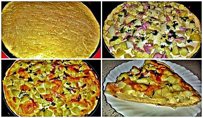 Preparación de la pizza quiche de patata