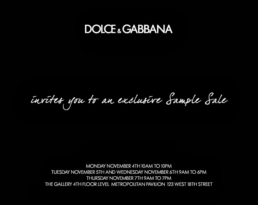 madison avenue spy save the date dolce gabbana sample sale