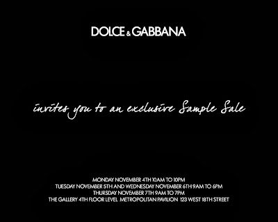 Save the Date: Dolce & Gabbana Sample Sale