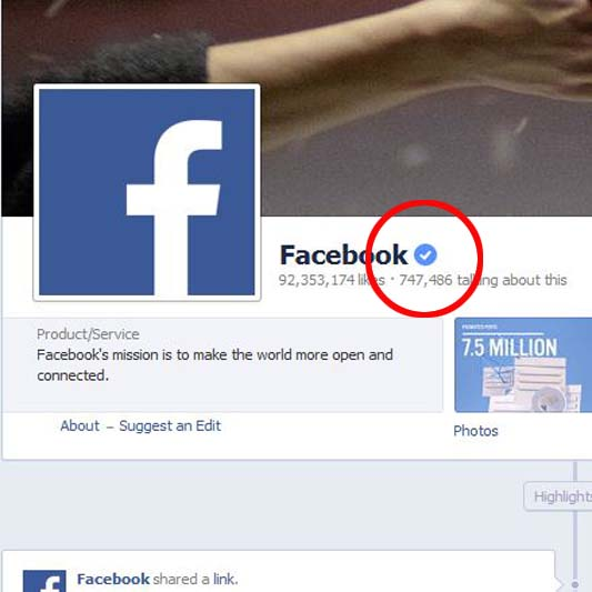 how to know if an account is verified on facebook