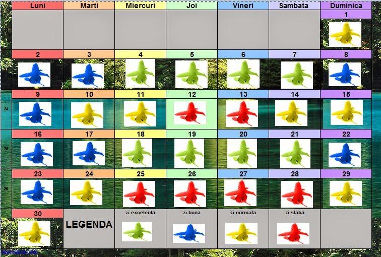 Calendar de pescuit solunar pentru luna iunie 2014