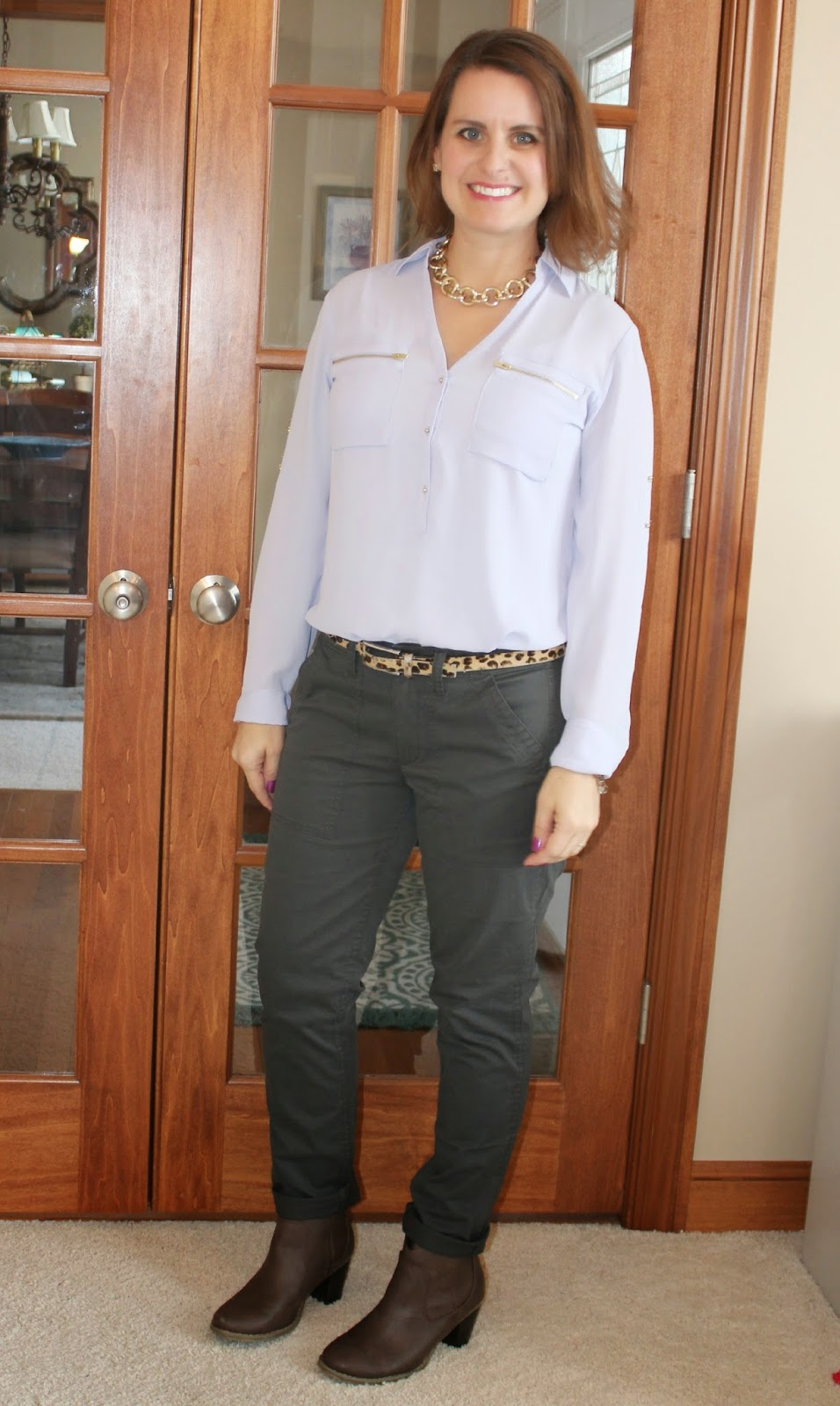 Lilac shirt, J. Crew utility pants, leopard, booties, casual outfit, fall oufti, winter outfit