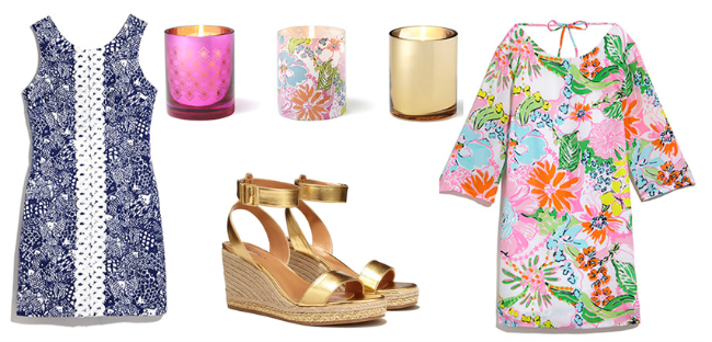 shift dress - upstream, glass votive candle holders, wedge espadrille sandals - gold, satin dress nosie posy, lilly pulitzer, lilly pulitzer for target, lilly for target, target