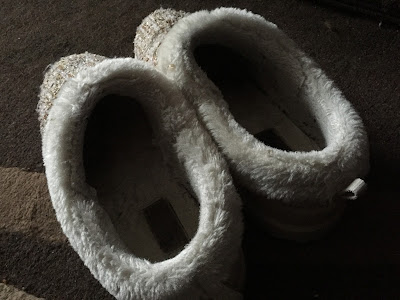 Inside view of worn slippers
