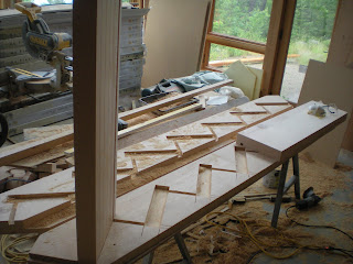 Douglas fir timber stairs fully mortised treads, timber frame  http://huismanconcepts.com/