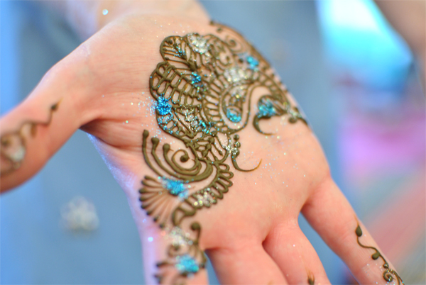 blue glitter henna design