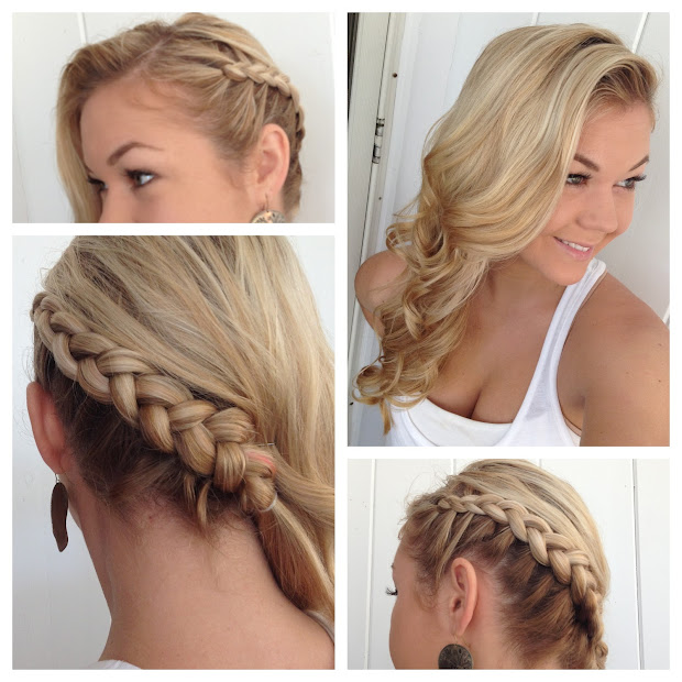side swept french braid hairstyle