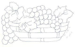 risco de cesta com uvas