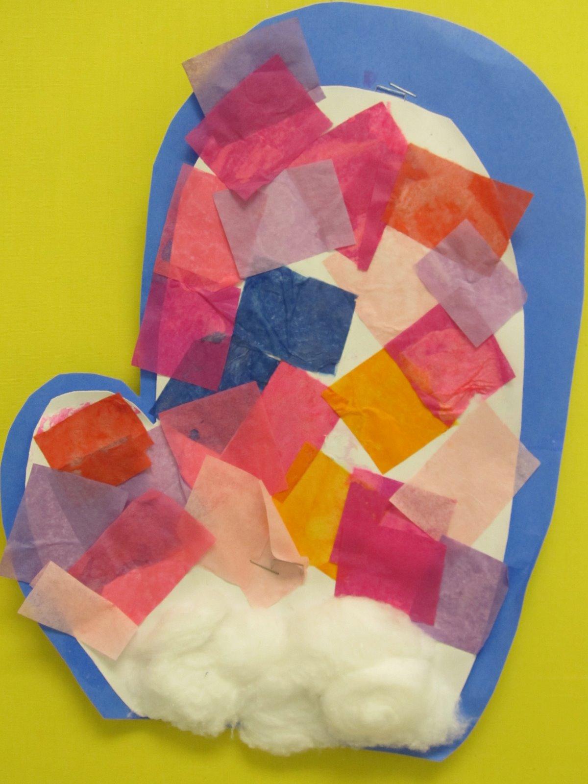 ... bulletin board, Mittens in children's art, tissue paper mittens