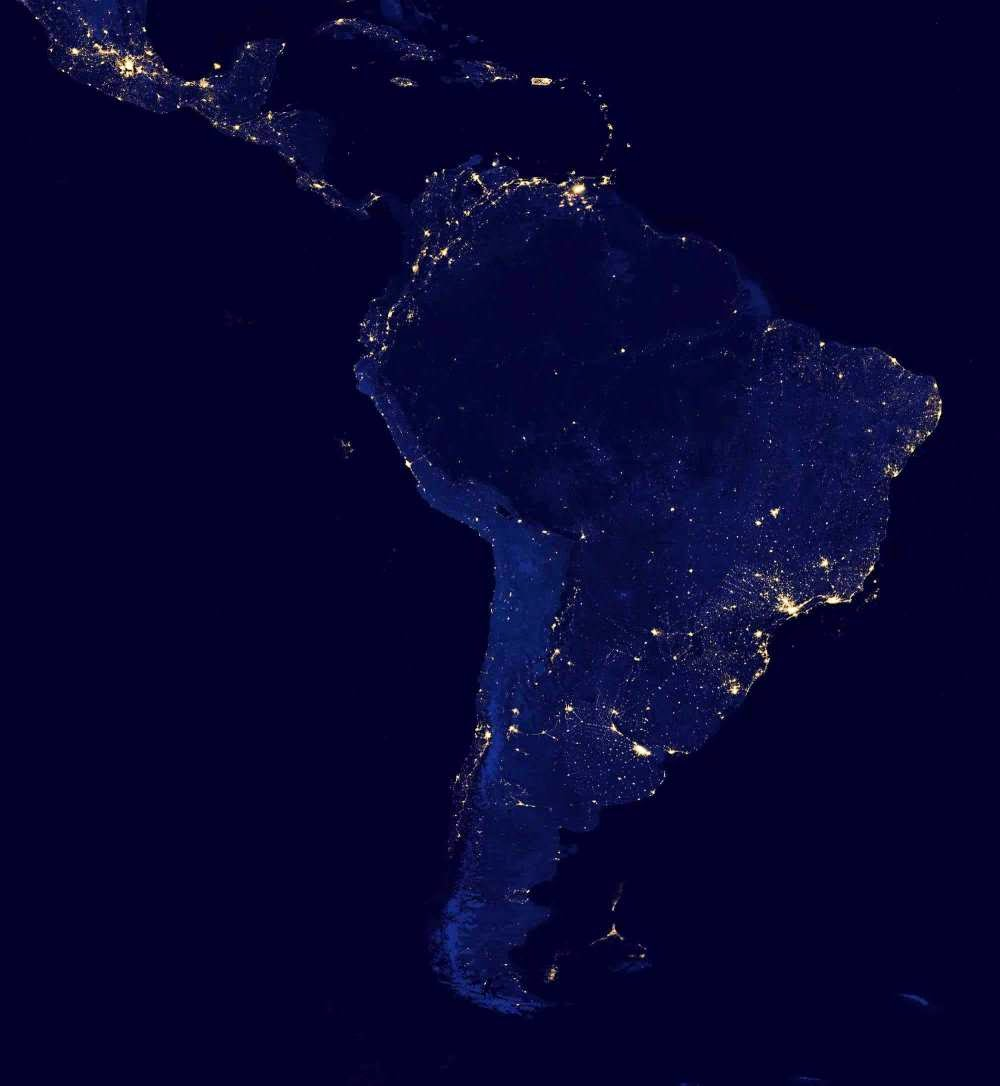 Satellite photo South America at night