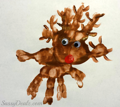 paint handprint reindeer art project for christmas