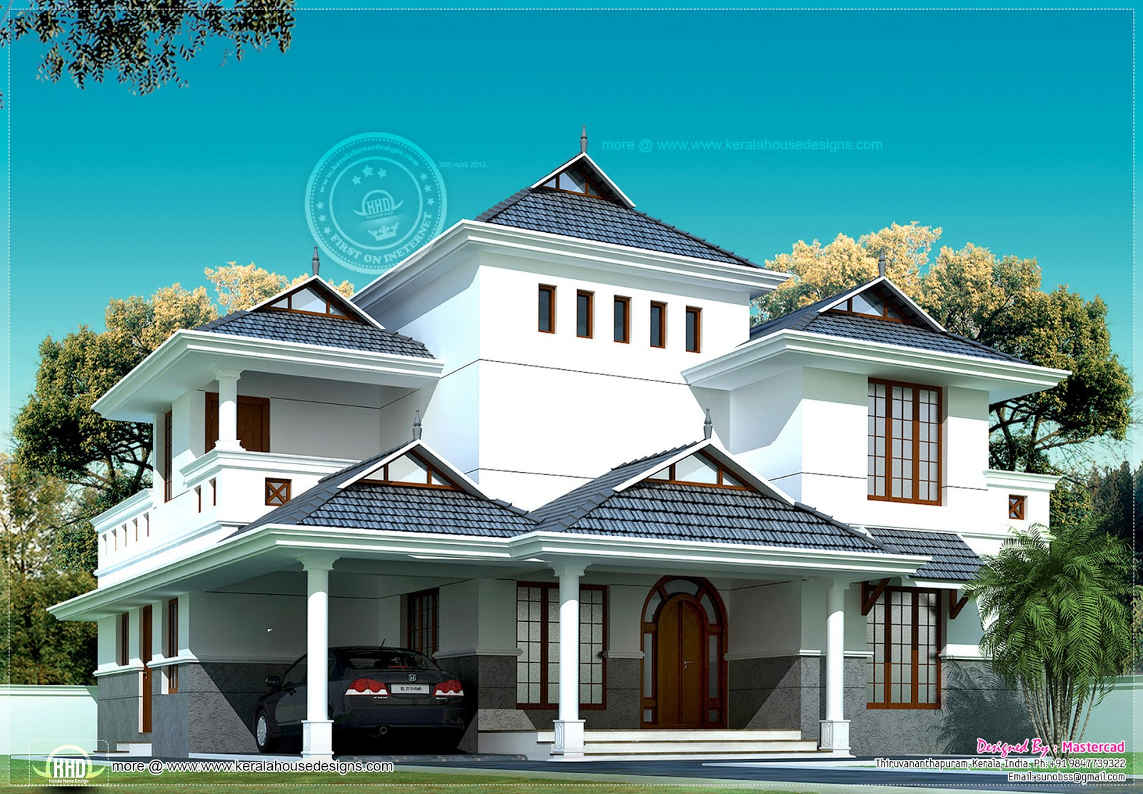 Kerala model villa in 2020 square feet kerala home for Villa plans in kerala