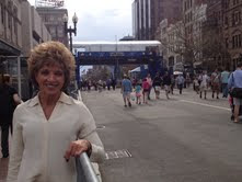 Tami at the Boston Marathon Finish Line