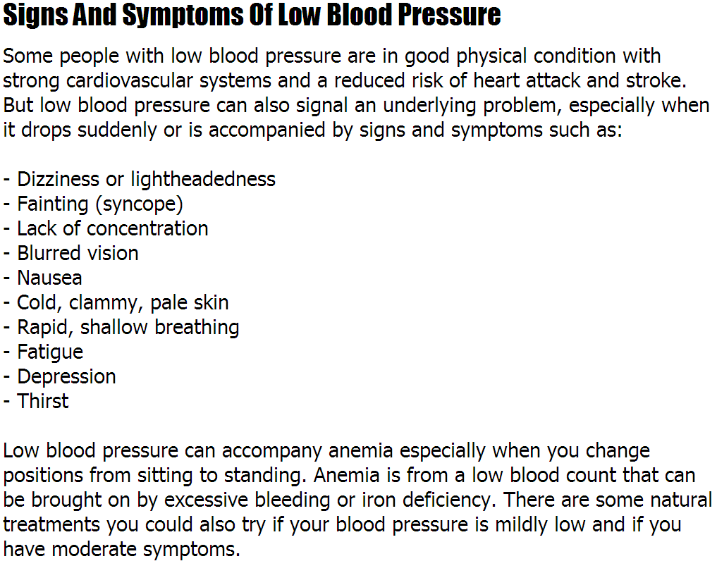 Low Blood Pressure Symptoms Signs And Symptoms Of Low Blood