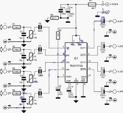 100W Quad Car Amplifier Schematic