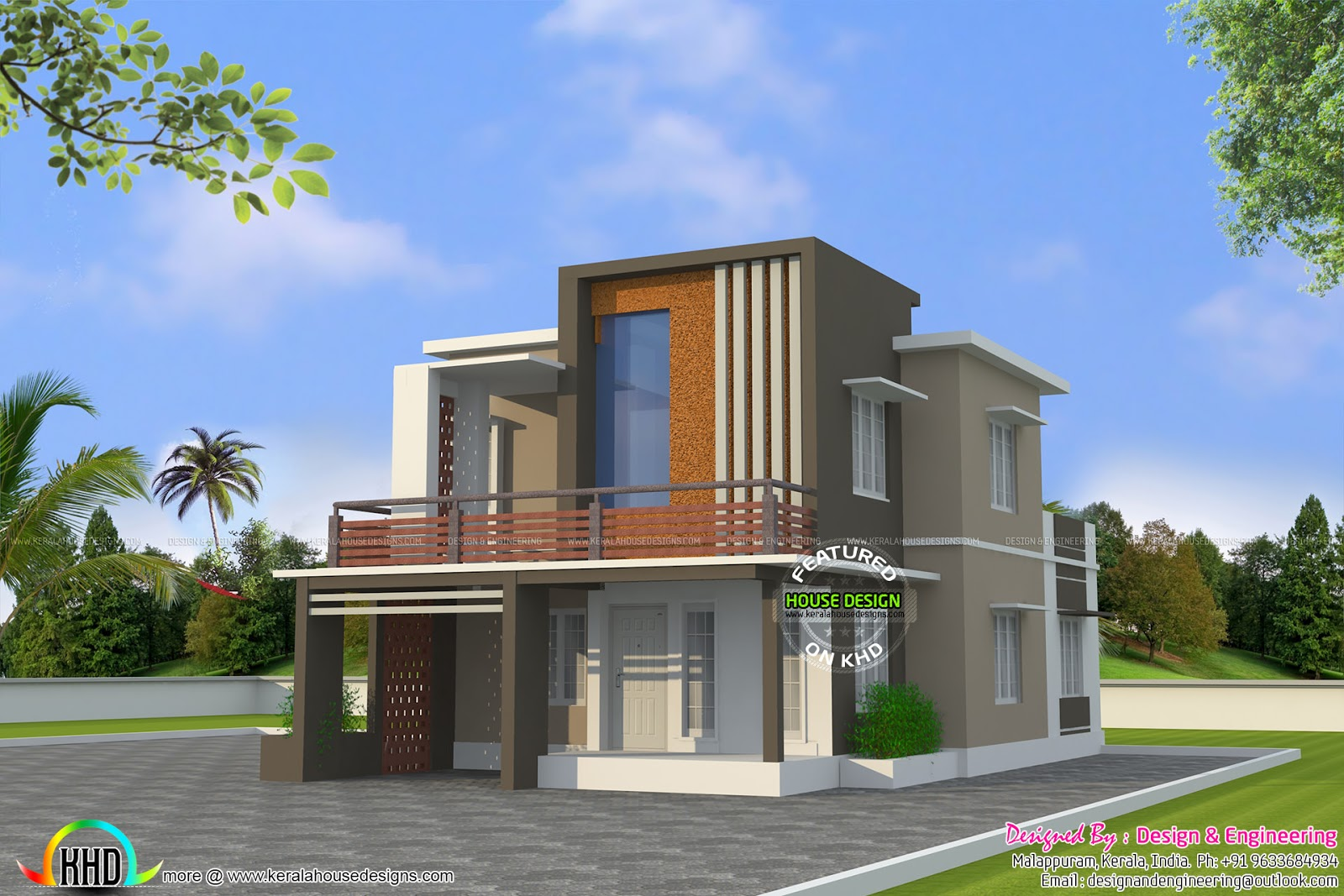 Low cost double floor home plan kerala home design and for Modern home plans with cost to build