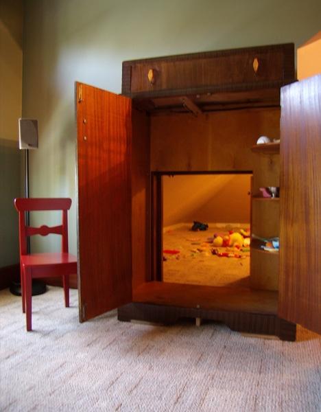 secret passage to a room behind a closet