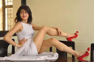 Kamaya South Indian Model in White Sleevelss Short Dress Spicy Pics