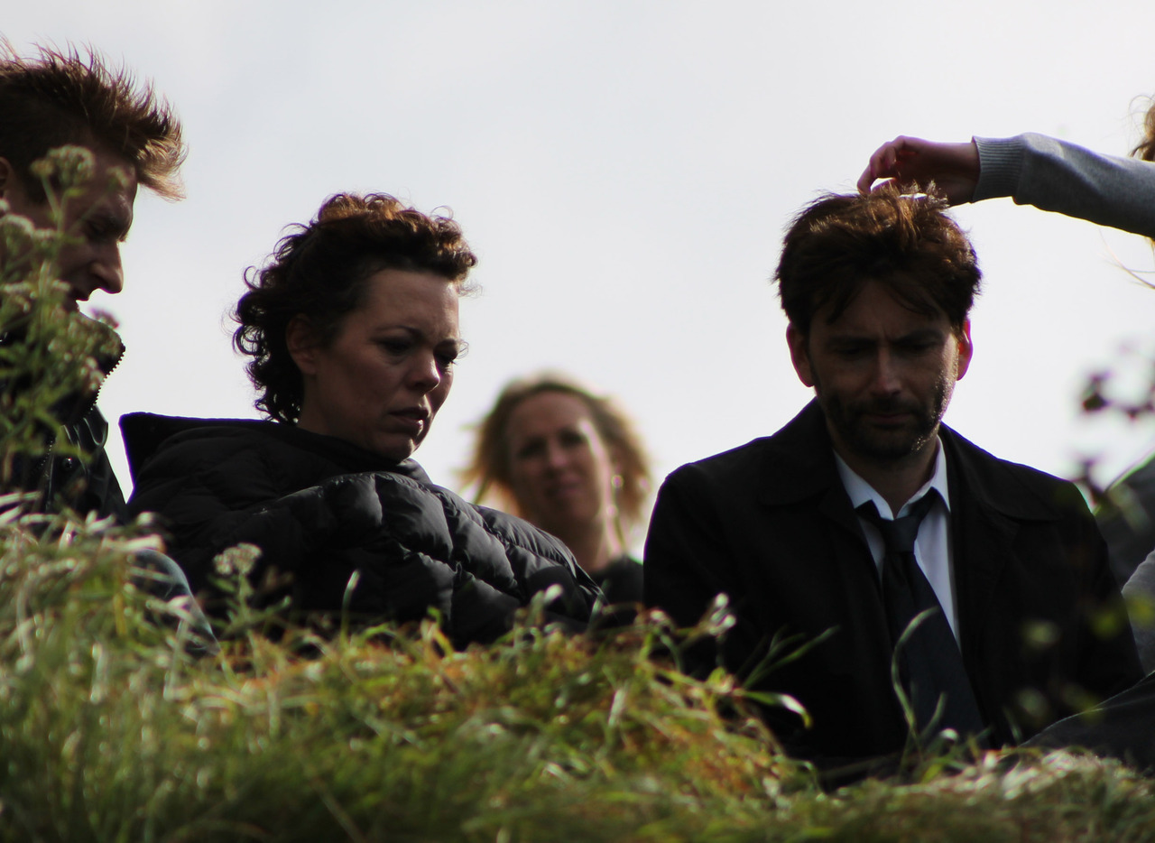 david tennant pictured on set of broadchurch. Black Bedroom Furniture Sets. Home Design Ideas