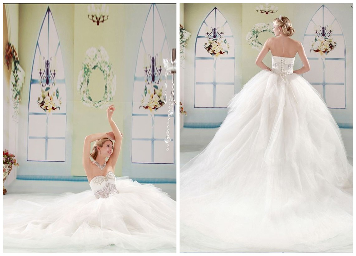 ball gown wedding dress with cathedral train
