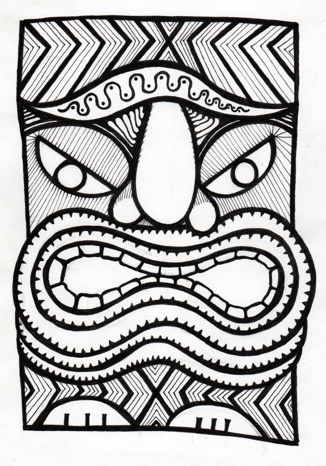 Stitchlily: How to draw a Tiki Head!
