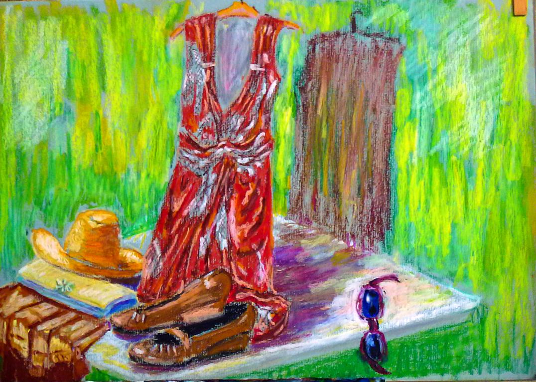 Art de vivre la peinture de peintrefiguratif abstrait pastel gras la robe for Peinture pastel gras