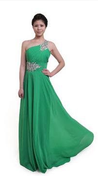 Light green long gown prom dress
