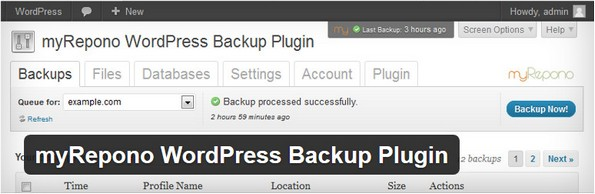 myRepono plugin for taking backups
