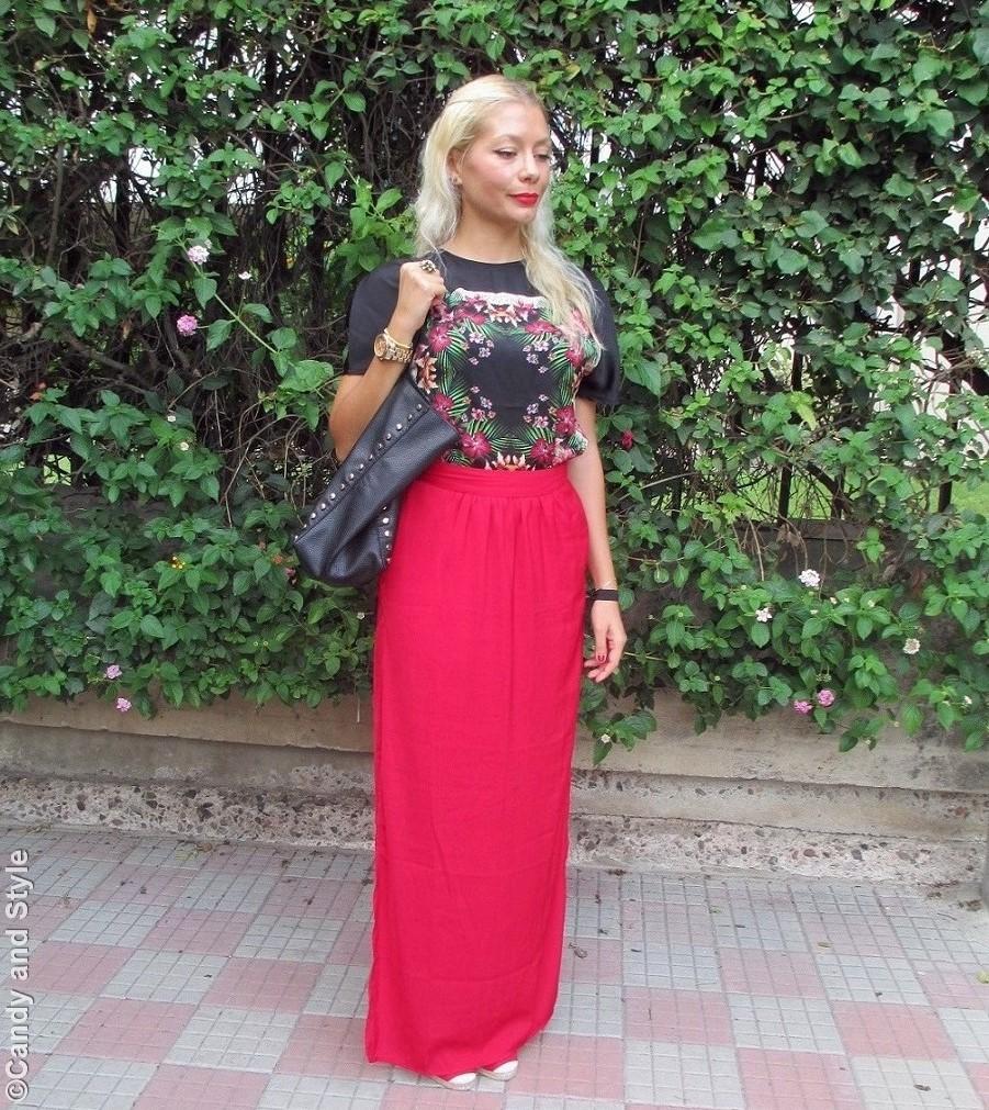 PrintedShirt, RedMaxiSkirt, StuddedShopperBag, Wedge Espadrilles - Lilli Candy and Style Fashion Blog