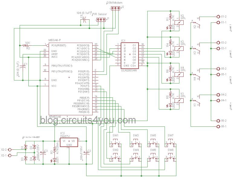 GSM Based Home Automation | circuits4you.com