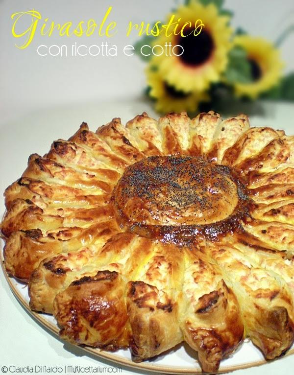 torta rustica girasole con ricotta e cotto