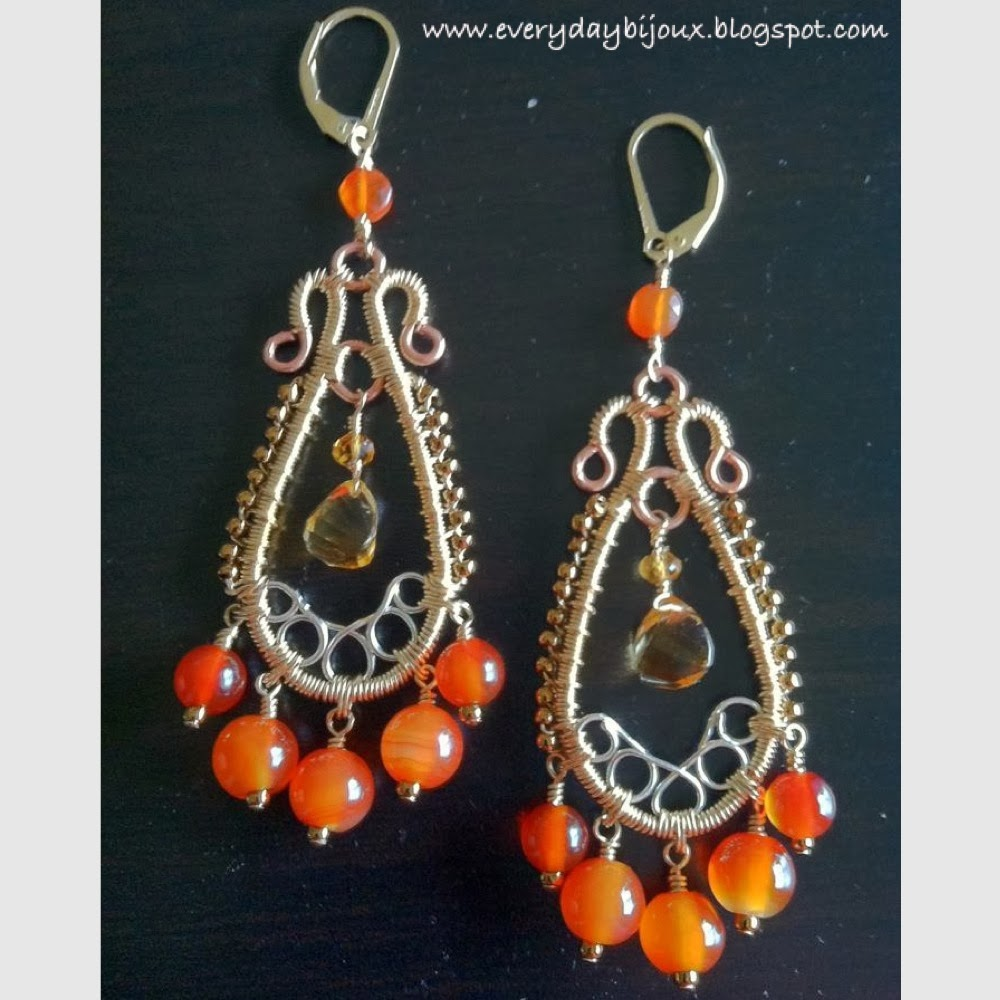 I Love, Love, Love The Ornate, Almost Ethnic Flair Of These Earrings, And  Of Course I'm Partial To The Colors (i Have A Minor Love Affair With  Orange,