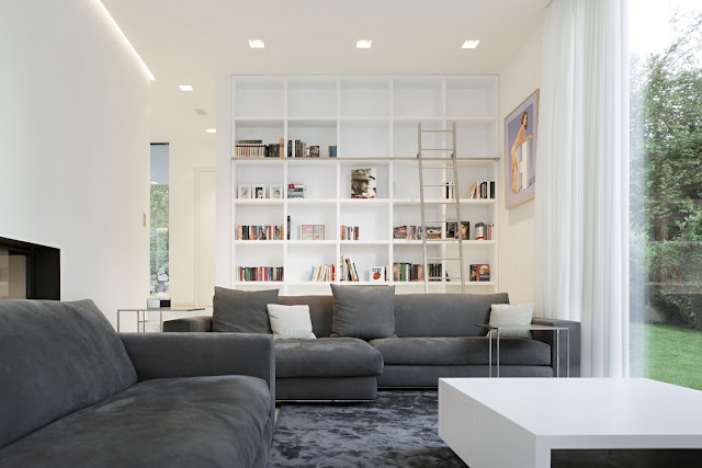 Grey sofas in white living room