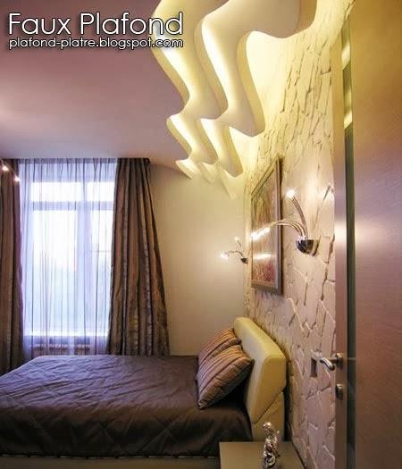 Conception du faux plafond pour chambre à coucher avec des idées d ...
