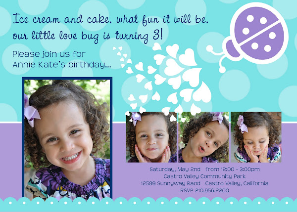 Love Bug - Lady Bug  Birthday Invitation