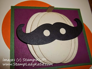 Halloween Card made with Stampin'UP!'s Mustache Die used as a mask