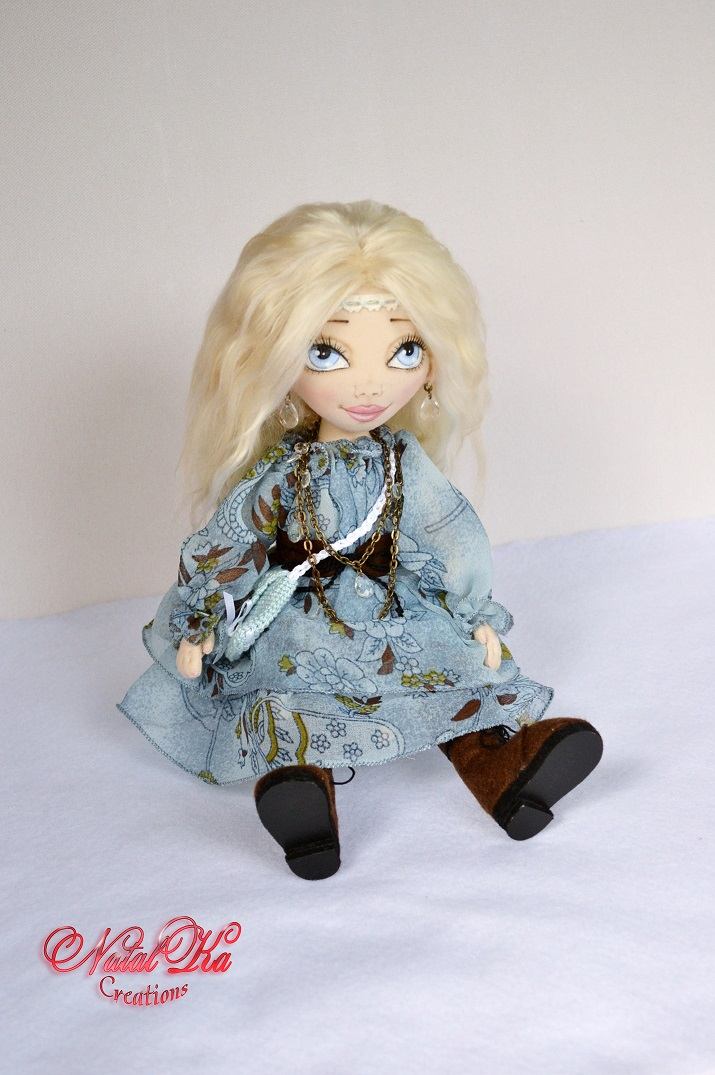 Cloth rag fabric doll. Boho. Hippie
