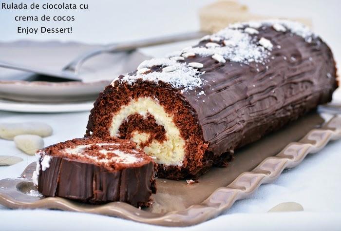 Rulada de ciocolata cu crema de cocos